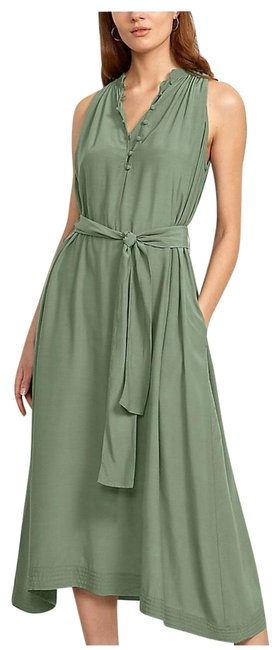 Item - Olive Color Covered Button Pocket Shirt Mid-length Night Out Dress Size 8 (M)