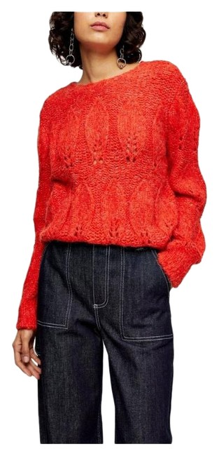 Item - Women's Knitted Petal Pointelle Size Medium Red Sweater