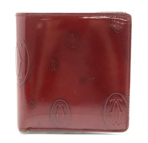 Cartier Cartier Happy Birthday Bifold Wallet Enamel Patent Leather Calf Bordeaux L3000263