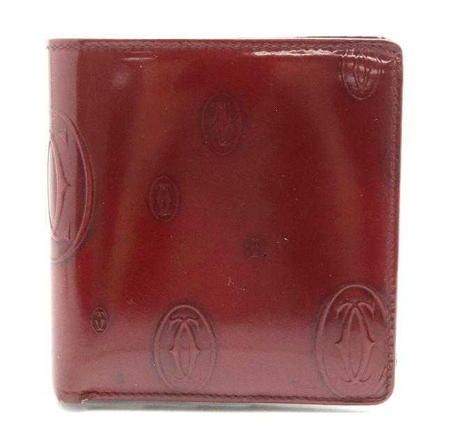 Item - Bordeaux Happy Birthday Bifold Enamel Patent Leather Calf L3000263 Wallet