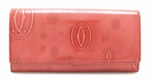 Cartier Cartier Happy Birthday 2-fold wallet enamel leather patent coral red L3001281