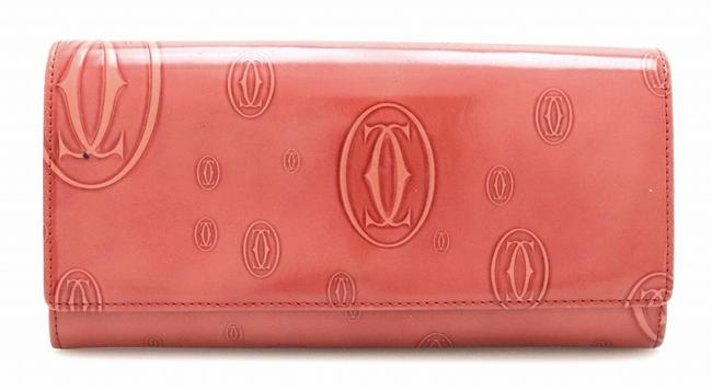 Item - Coral Red Happy Birthday 2-fold Enamel Leather Patent L3001281 Wallet