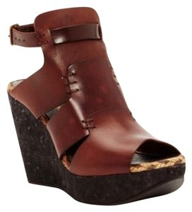 Free People Ankle Strap Leather brown Wedges