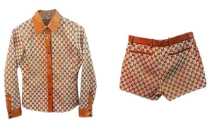 Gucci Authentic Gucci Tom Ford Vintage Monogram GG & Leather Shirt & Shorts Set Size 38