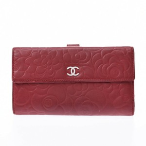Chanel Chanel Camelia Red Lambskin Leather Purse Wallet #5588C24B