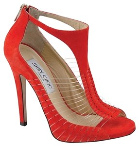 Jimmy Choo Orange Suede Stiletto T-strap Gold Hardware Red Pumps