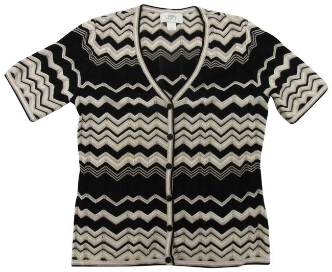 Item - Black White Tan Short Sleeve Knit Cardigan Size 4 (S)