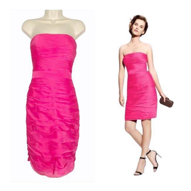 Item - Fuchsia Strapless Ruched Bridesmaid Cocktail Dress Size 6 (S)