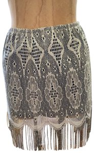 Only Hearts Mini Skirt silver with attached black slip