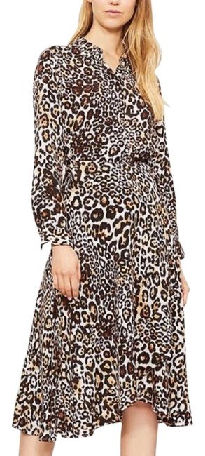 Whistles Tan Brown Esme Wrap Front Shirt Leopard Print Mid-length Work/Office Dress Size 4 (S) Whistles Tan Brown Esme Wrap Front Shirt Leopard Print Mid-length Work/Office Dress Size 4 (S) Image 1