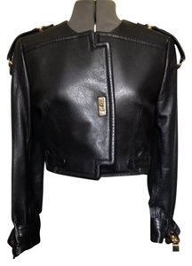 Moschino Vintage Leather Epaulettes Collarless Style Gold-tone Hardware Size 40 (italian) / Size 4 Small (us) Modello 20727 Leather Jacket