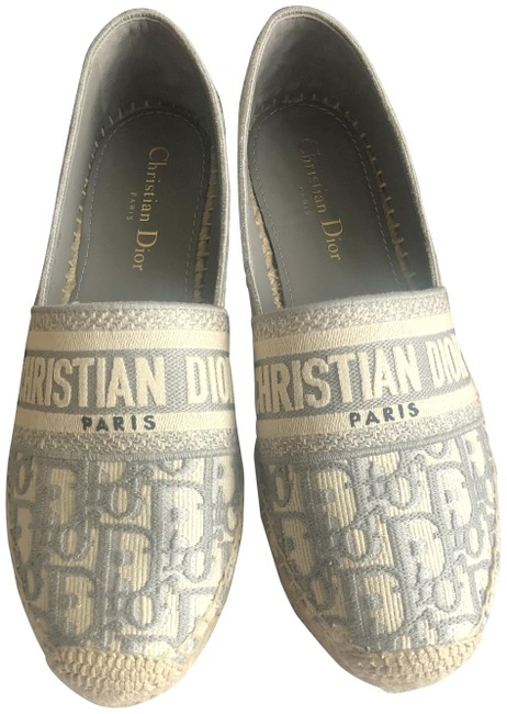 Item - Grey Granville Oblique Embroidered Cotton Espadrille Flats Size EU 38 (Approx. US 8) Regular (M, B)