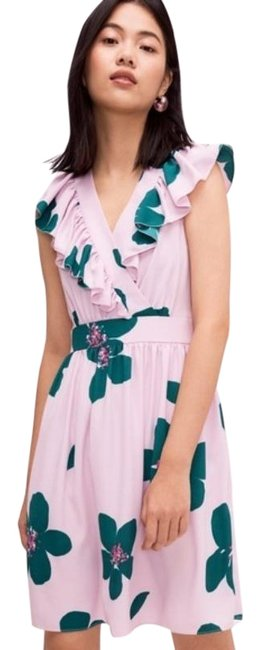 Kate Spade Pink Purple Surplice Flutter Sleeve Summer Mid-length Night Out Dress Size 4 (S) Kate Spade Pink Purple Surplice Flutter Sleeve Summer Mid-length Night Out Dress Size 4 (S) Image 1