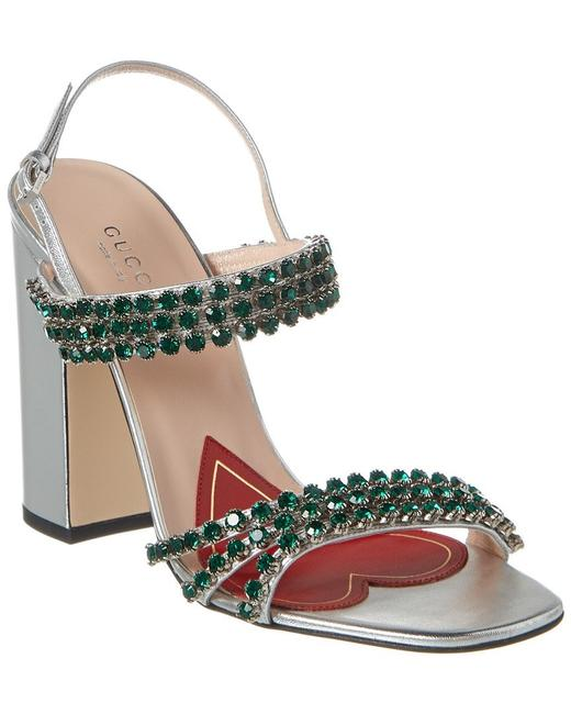 Item - Silver Bertie Crystal Strappy Leather Sandals Size EU 37 (Approx. US 7) Regular (M, B)