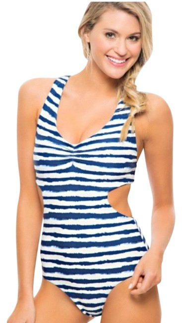 Item - Indigo and White Cutout Watercolor Striped One-piece Bathing Suit Size 4 (S)
