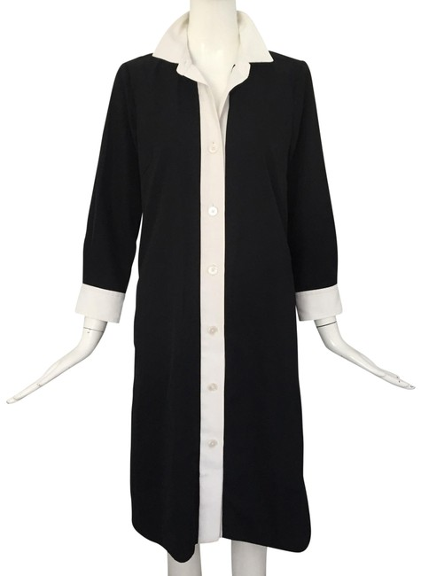 Item - Black White Button Down Mid-length Short Casual Dress Size 6 (S)