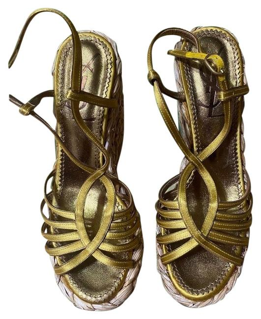 Item - Gold Monogram Loulou Sandals Wedges Size EU 35 (Approx. US 5) Regular (M, B)