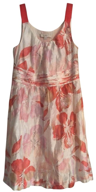 Item - Coral and White Linen Blend Sundress Mid-length Short Casual Dress Size 4 (S)