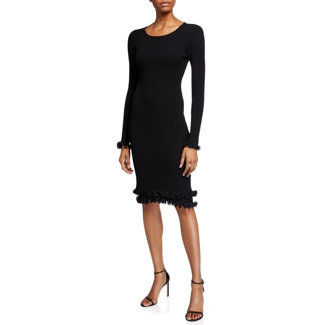 Item - Black Wired Edge Fitted Mid-length Cocktail Dress Size 4 (S)