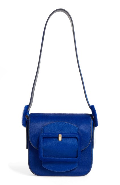 Item - Sawyer Mini Genuine Calf Hair Blue Dahlia Calfskin Leather Shoulder Bag