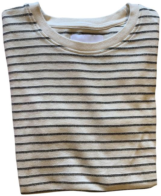 Item - Cream Black and Silver Striped Tee Shirt Size 4 (S)