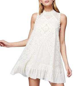 Free People short dress Cream Boho Raw Hem Lace Crochet Sleeveless on Tradesy