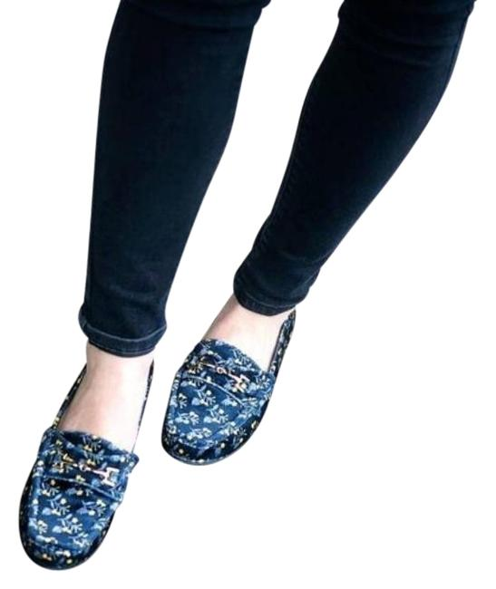 Item - Blue Carnaby Navy Velvet Floral Loafer Flats Size US 7 Regular (M, B)