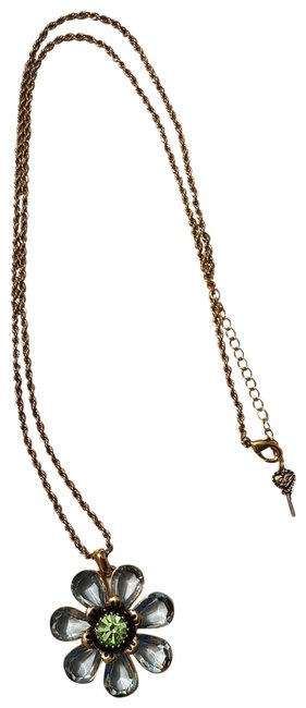 Item - Gold and Blue Long Flower Necklace