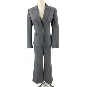 Tahari Tahari ASL Gray Single Button Cuffed Wide Leg Pant Suit