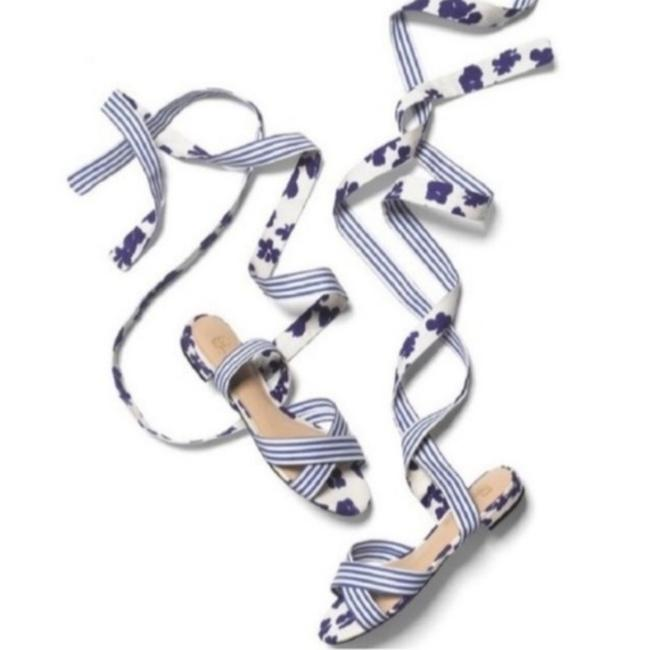 Item - Blue White Watercolor Tied-up Wraparound Floral Striped Sandals Size US 10 Regular (M, B)
