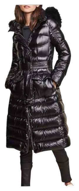 Item - Black Hooded Parka with Fur Coat Size 2 (XS)