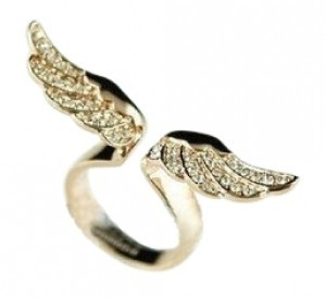 All Around Fem Angel wing in Gold & Rhinestone Free shipping Affo
