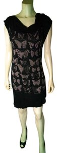 Isabel de Pedro short dress black, brown Size 8 Stretchy P1386 on Tradesy