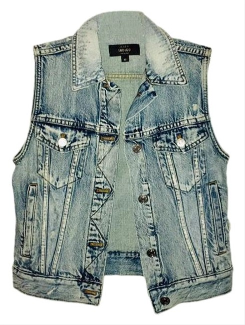 Item - Blue Indigo Distressed Denim Vest Size 0 (XS)