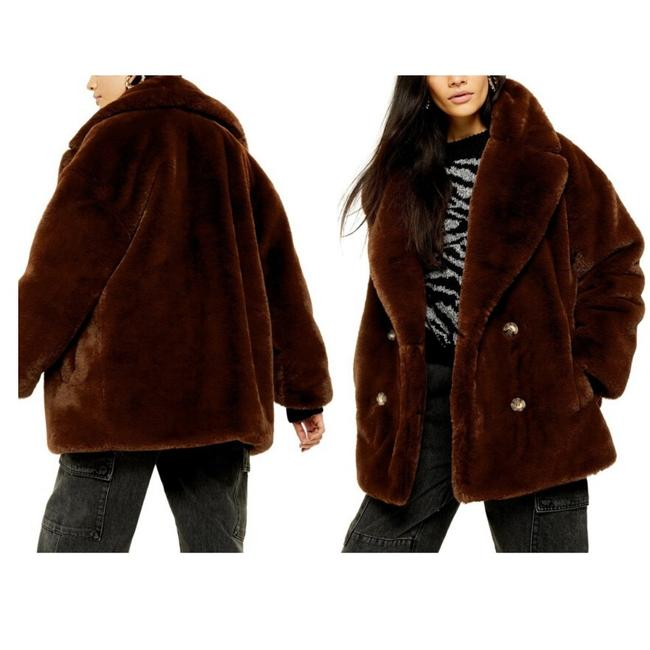 Item - Brown Women's Ally Faux Fur Double Breasted Jacket Small Button-down Top Size 4 (S)