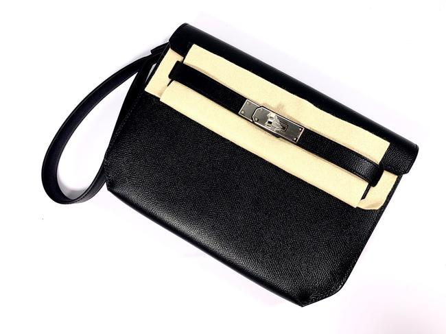 Item - Kelly Depeches Pouch Epsom 25 Black Leather Wristlet