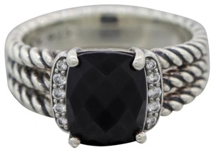 David Yurman David Yurman Sterling Silver Petite Wheaton Onyx & Diamond Ring