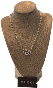 Gucci Sterling Silver Chain Link Gucci Necklace with Interlocking G's