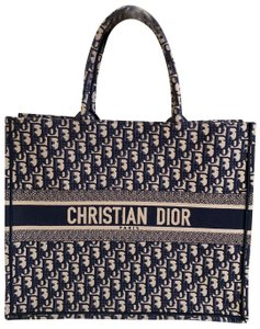 Dior Embroidered Canvas Tote in Blue Navy