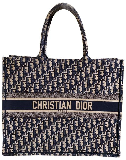 Dior Embroidered Blue Navy Canvas Tote Dior Embroidered Blue Navy Canvas Tote Image 1