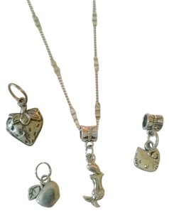 Sterling silver chain with mermaid, hello kitty,apple,and strawberry charms