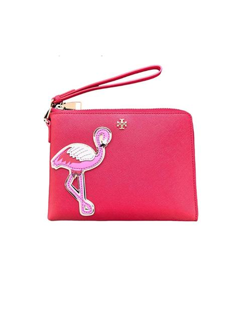 Tory Burch Robinson Flamingo Red Leather Wristlet Tory Burch Robinson Flamingo Red Leather Wristlet Image 1