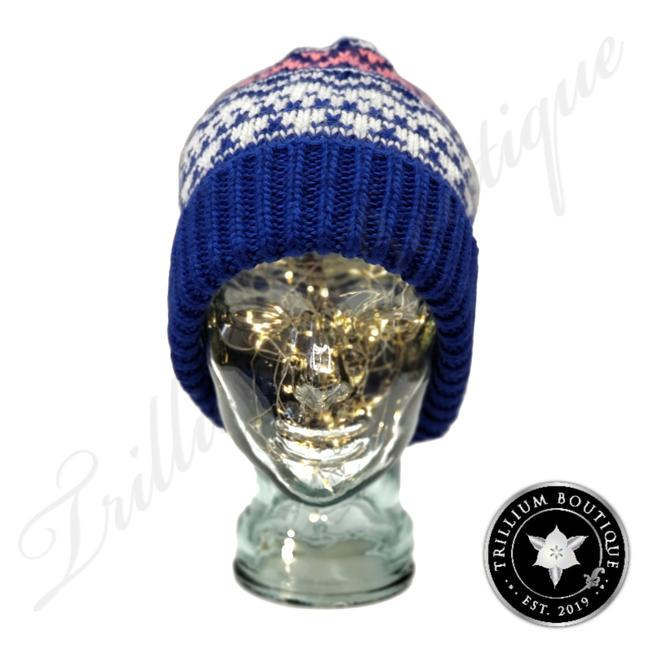 Item - Multi-color Women's Blue and Pink Beanie Medium Hat