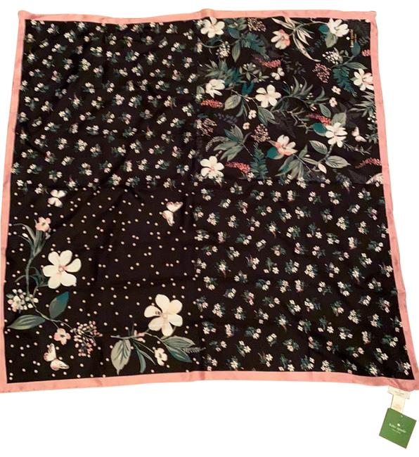 Item - Black with Light Pink White and Green Silk Scarf/Wrap
