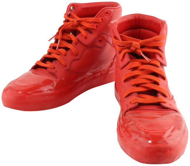 Item - Red Men's High-top Leather Sneakers Size EU 41 (Approx. US 11) Regular (M, B)