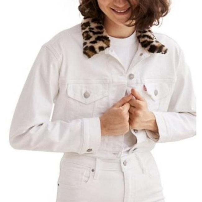 Item - White Brown Cropped with Fur Collar Jacket Size 16 (XL, Plus 0x)