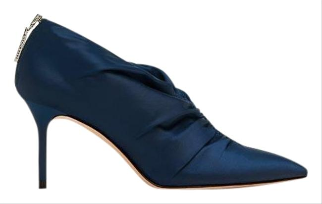 Item - Blue W High Heel Ankle Satin W/ Gathered Detail 8/39 New. Boots/Booties Size US 8 Regular (M, B)