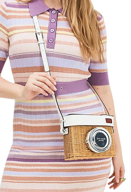 Item - Camera Natural/White/Silver Wicker & Leather Cross Body Bag