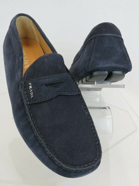 Item - Blue 2dd158 Navy Suede Logo Driving Moccasins Loafers 10 / Us 11 Shoes