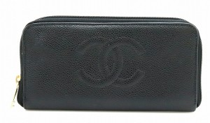 Chanel CHANEL Caviar skin Coco mark Round fastener Long wallet Leather Black gold hardware A13228